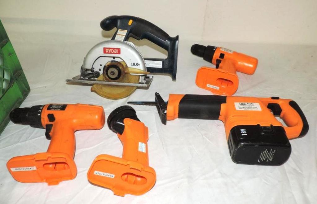 18 volt Chicago Electric recip saw, 2 drills, light and 18volt Ryobi cordless saw.