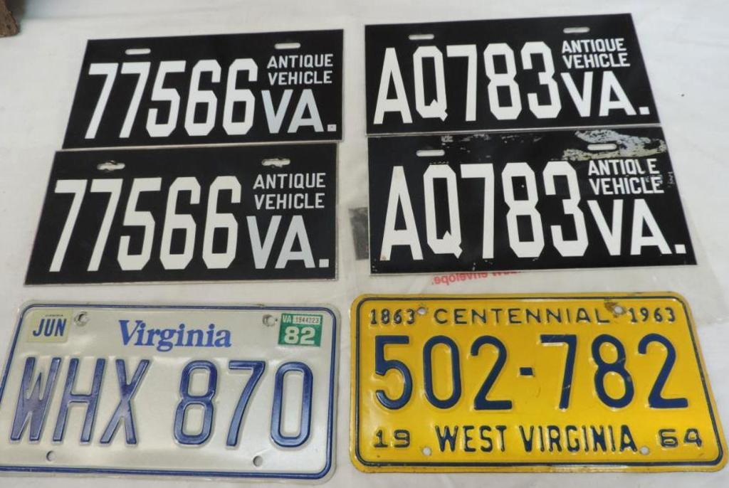 2 Sets of VA antique vehicle plates, 1963 centennial West Virginia plate and 1982 VA plate.