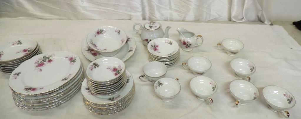 50+ pieces of Harmony House Eugenie Rose fine china.