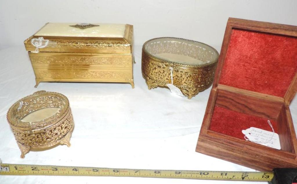 "3 ornate brass dresser/ jewelery boxes and 5"" carved wood box."
