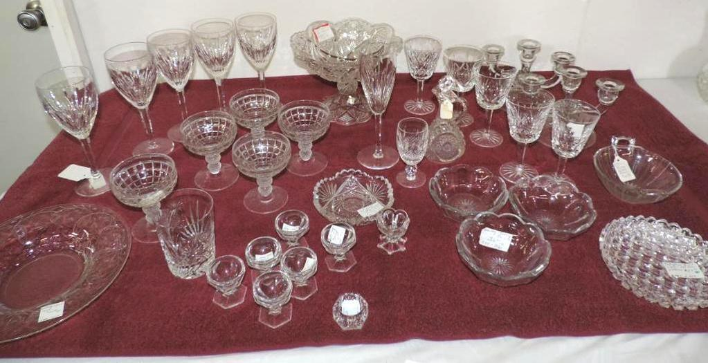 "5-8"" Waterford wine glasses, 5-6"" Waterford glasses(1 is chipped), Heisey and more lot."