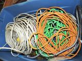 Huge tub of scrap wire/ romex/ extension cords.