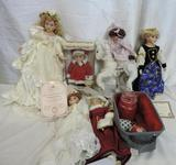 Six collector dolls lot.