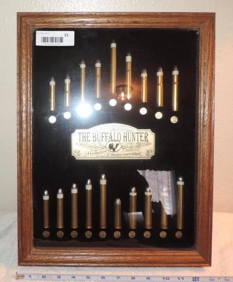 The Buffalo Hunter shadow box of Sharp's cartridges.