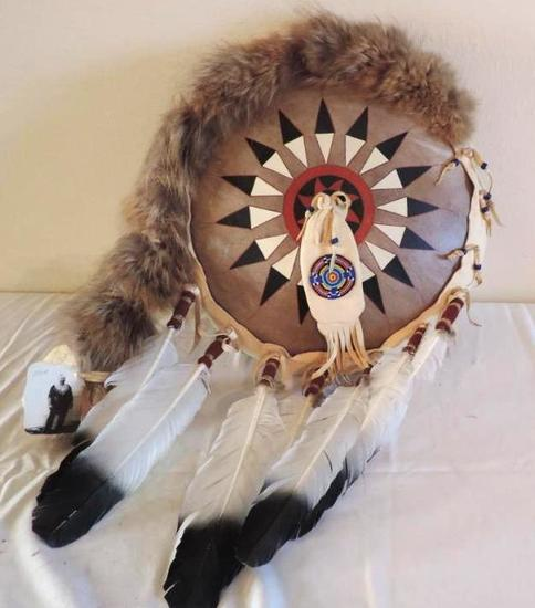 War bonnet society shield made by red hawk.