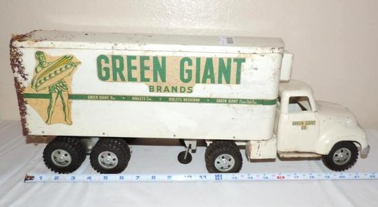 Tonka Green Giant pressed steel truck and trailer.