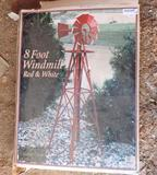 8' red & white windmill in box.