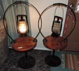 Two cast iron and wood electrified oil lamp side tables.