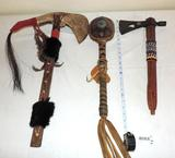 Jawbone tomahawk, turtle rattle and Hatchet/pipe with bead work.