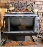 Brass Accented cast iron wood stove.