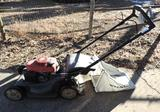 Honda HRX 217 lawnmower with bag.