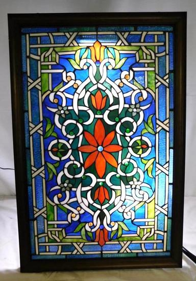 Stained glass figural artwork panel