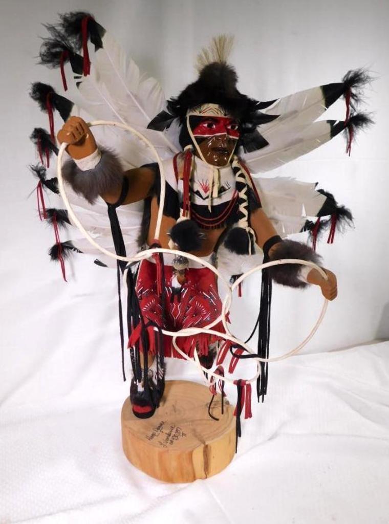 """Artist signed Hopi Kachina """"Hoop Dancer"""" carving"""