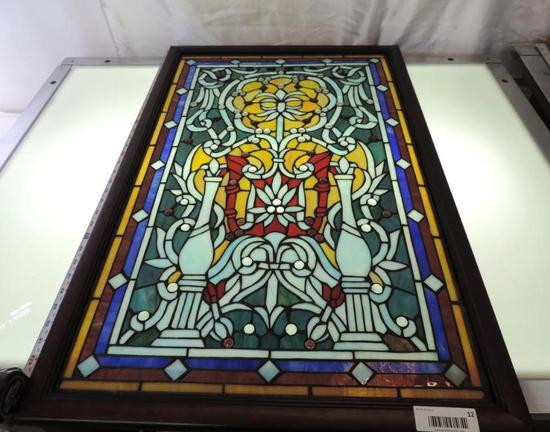 """Gorgeous 35x22"""" stained glass window."""