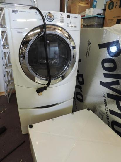 Maytag 5000 series dryer with steam and pedistals.