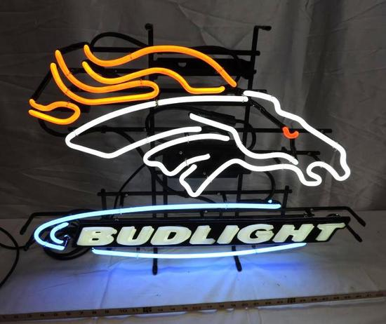 Denver Broncos Bud Light neon sign.