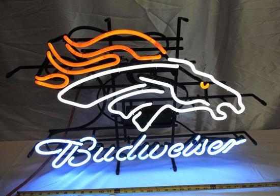 Denver Broncos Budweiser neon sign.