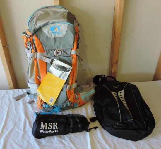 New Mile High Mountaineering PowderKeg back pack and more.