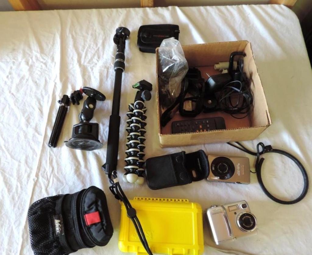 Assortment of camera gear.