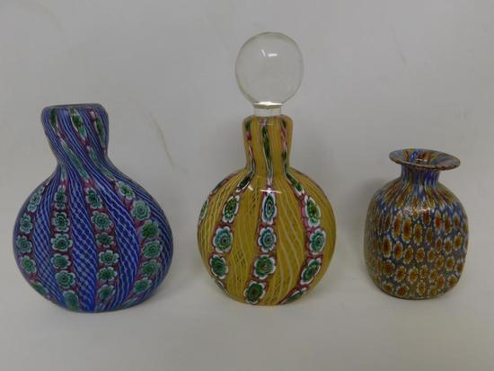 Three Art glass perfume bottles