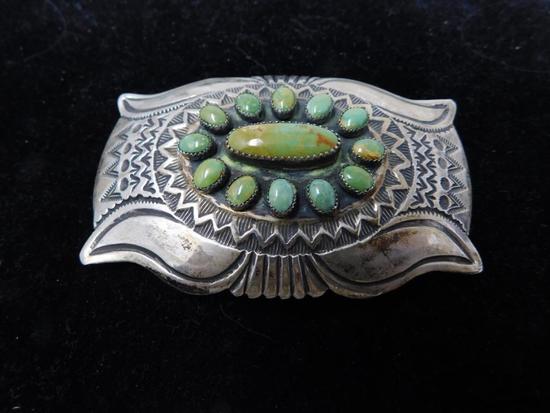 Artist signed green turquoise belt buckle