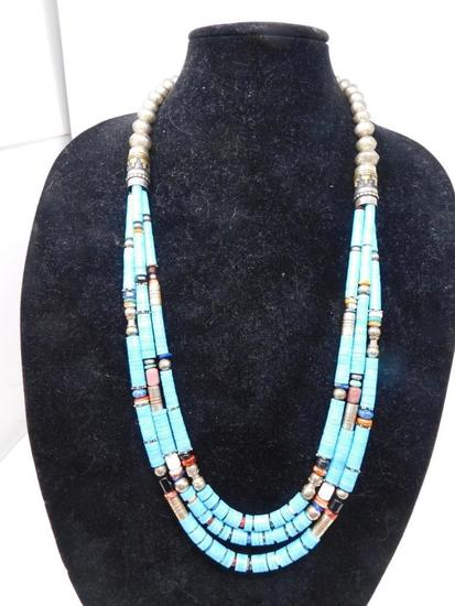 Incredible original Tommy Singer designed triple strand necklace.