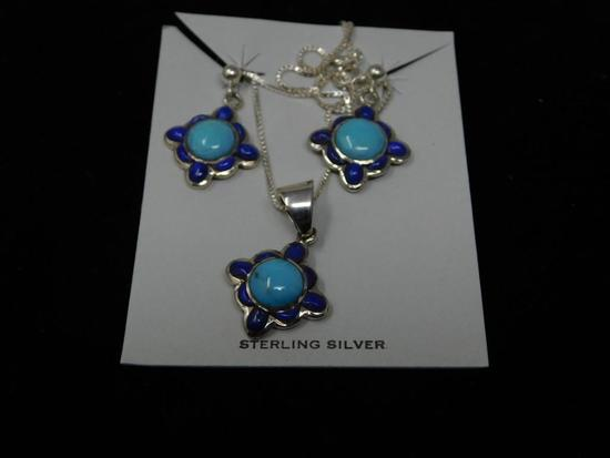 Lapis and Turquoise Sterling 3 piece set