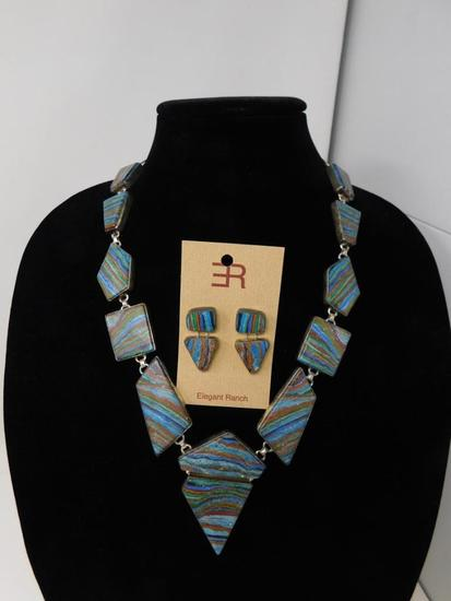 Amazing Rainbow Cheilica necklace and earrings