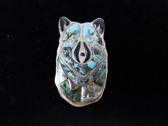 Native artist marked brooch pin