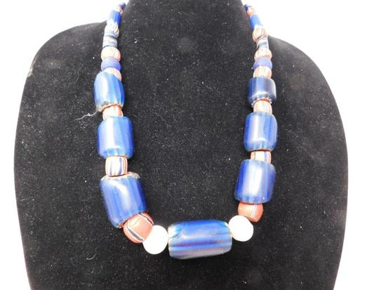 1800's Chevron bead trade necklace