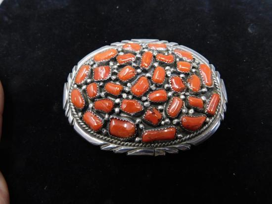 Native red Coral belt buckle