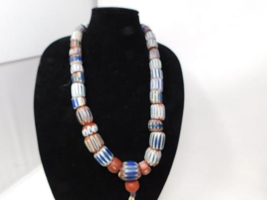 Incredible original fur trade bead necklace