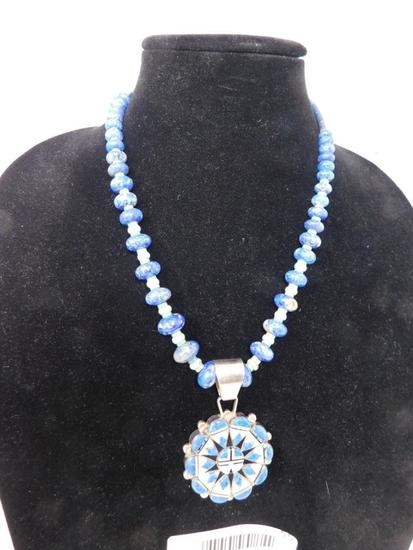 Artist signed Zuni pendant necklace