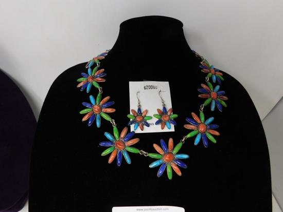 Artist marked flower necklace and earrings set