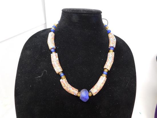 Blue Cobalt Millefiori elbow bead necklace