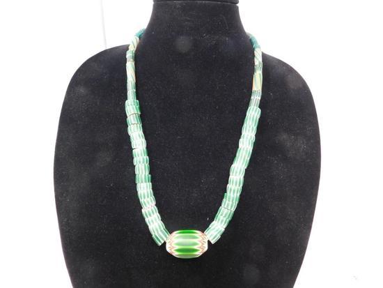 Rick Rice Chevron pattern green trade bead necklace