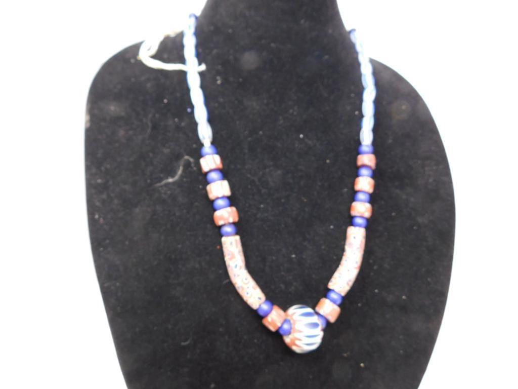 Venetian Millefiori and Chevron trade bead necklace