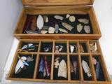 Native points collection in wooden trunk