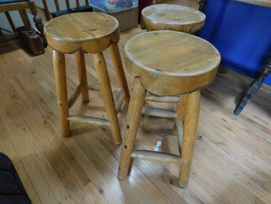 Rustic pine log bar stools