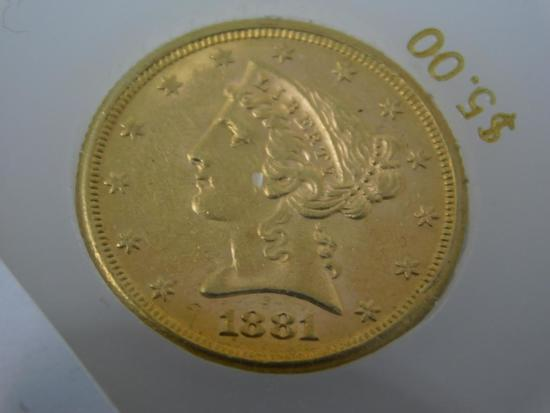 1881 US Five dollar Liberty Head gold coin