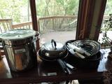 Pots/ pans/ roaster/ knives assortment.