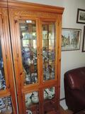 Carved pine display cabinet.