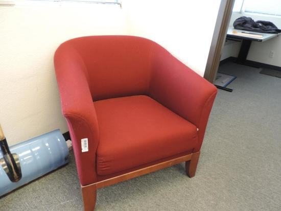 Red upholstered chair.