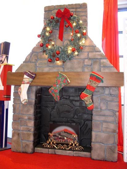Faux River Rock Fireplace replica w/Chimney & Mantle 2 pc.