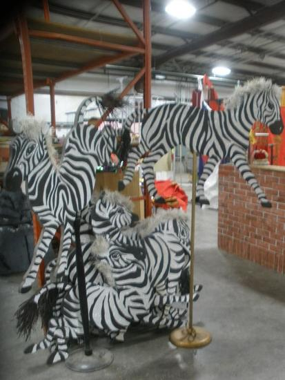 """Fantasy Zebra """"Herd"""" Two Sided cutouts lot of 8 four poses"""
