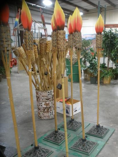 Bamboo Tiki Torches with iron stands and fake flames lot of 6