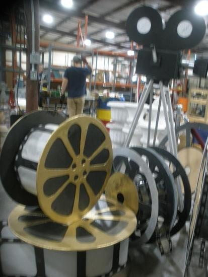 Old School Hollywood Camera and Giant Film Reel Replica lot