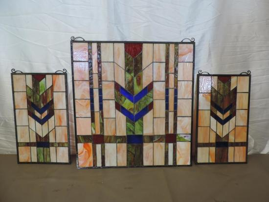 Stunning Chevron stained glass windows.