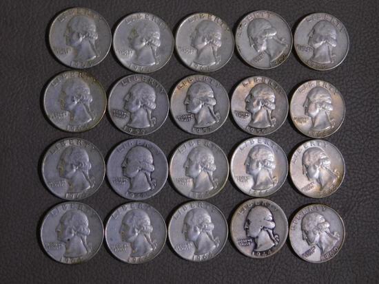 Twenty Pre 1965 Washington quarters