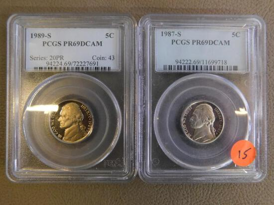 1987-S & 1989-S graded Jefferson Nickels